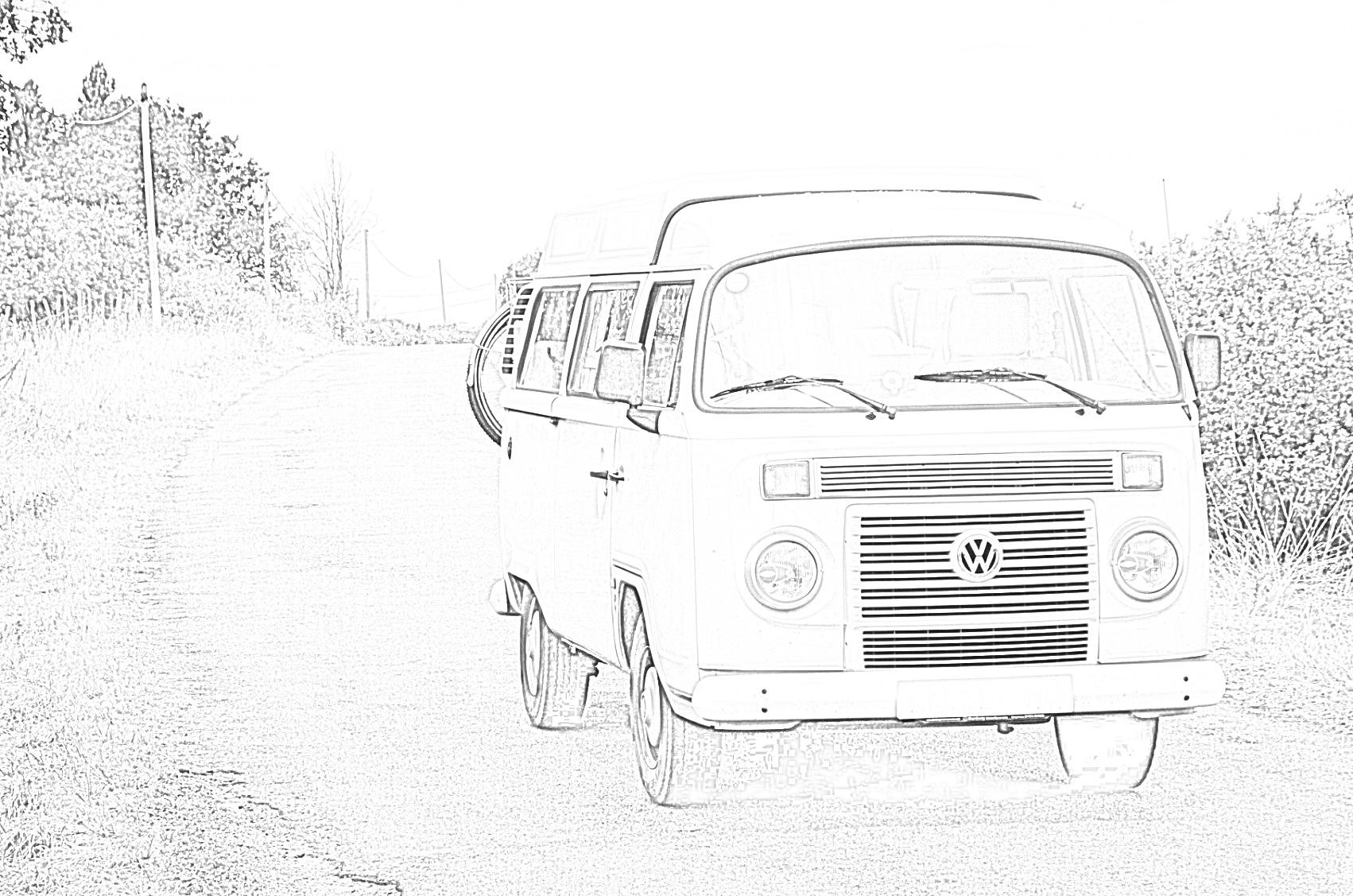 VW Campervan Coloring Page