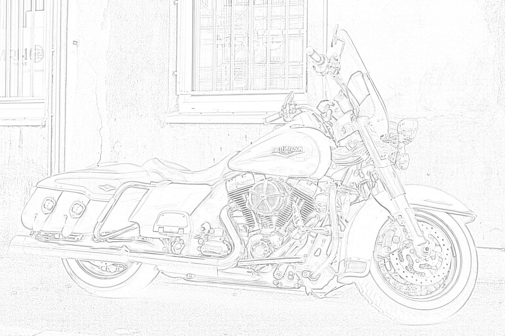 Free Printable Harley Davidson Road Cruiser Coloring Page
