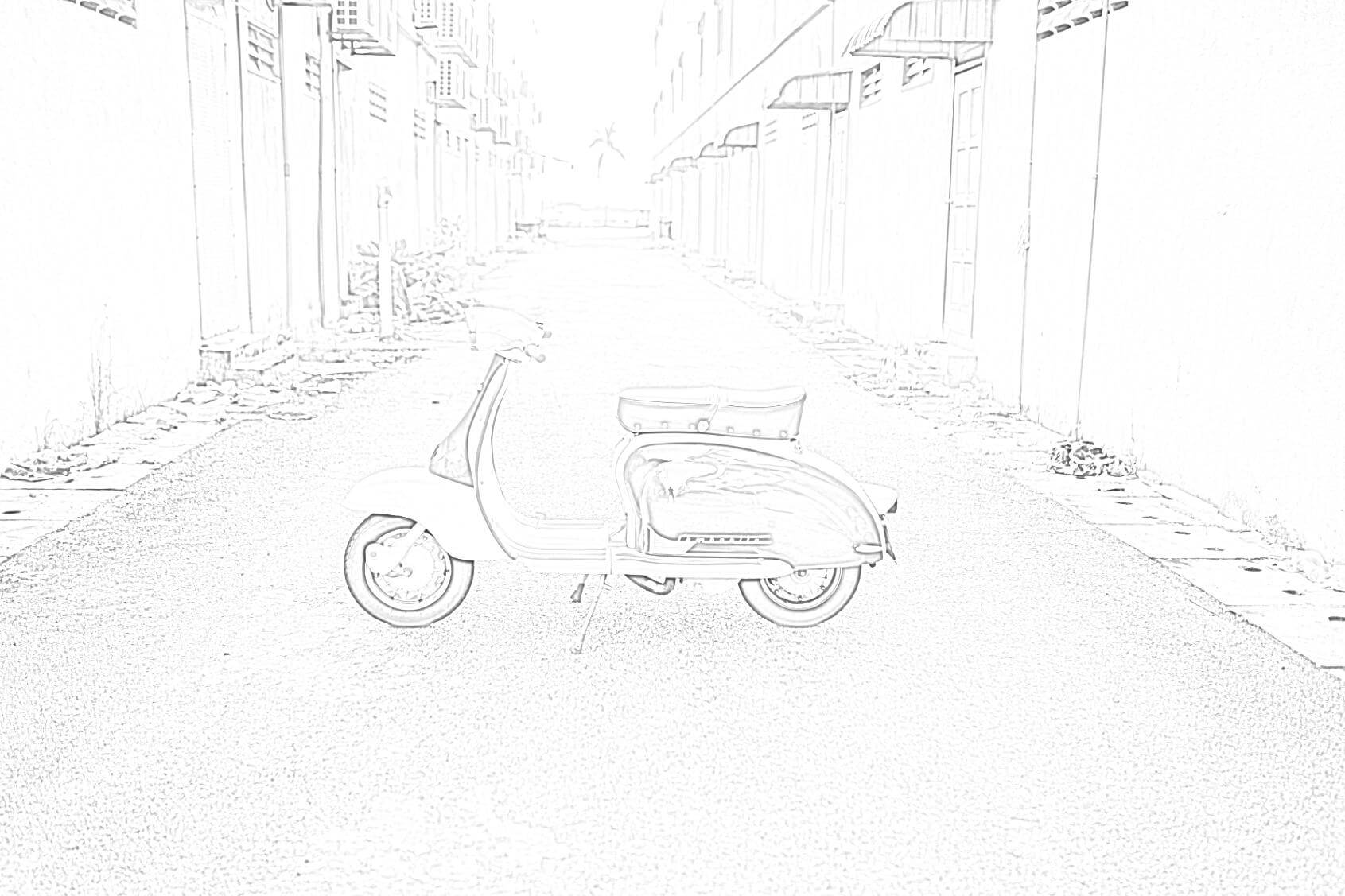 Motor Scooter Lambretta Coloring Page