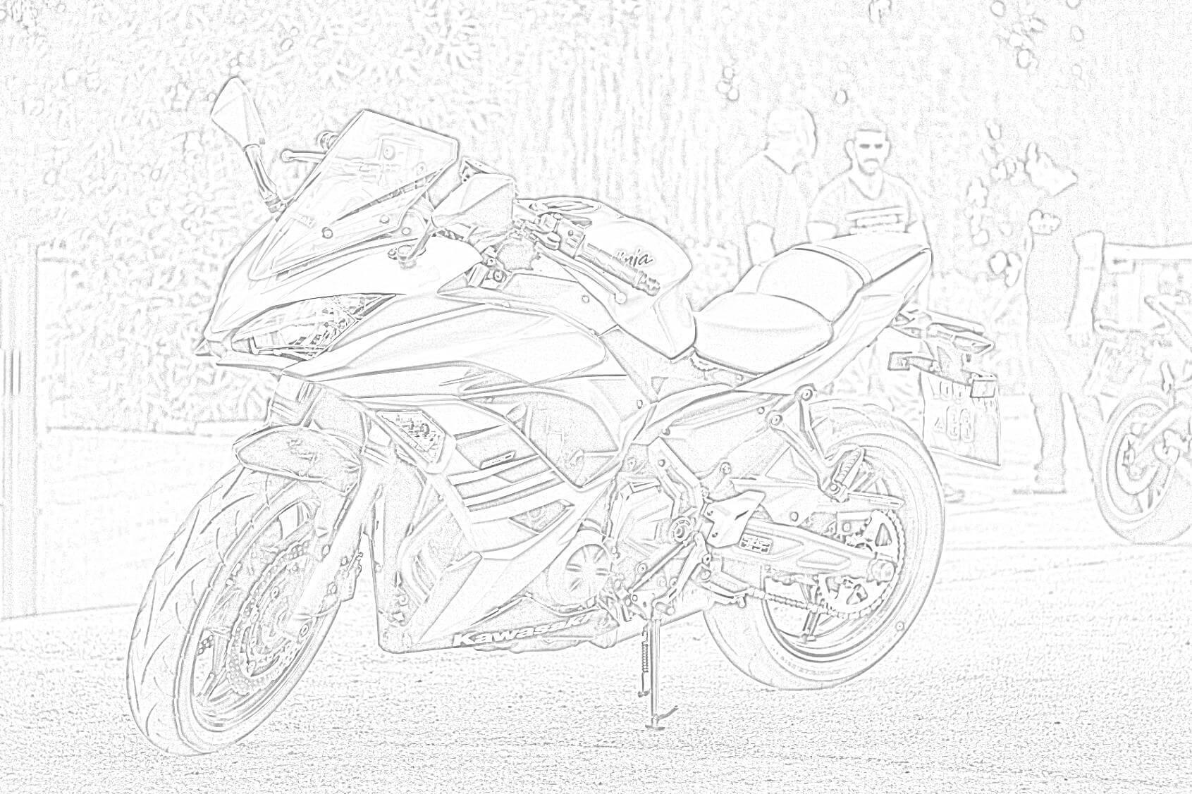 Free Kawasaki Motorcycle Coloring Page