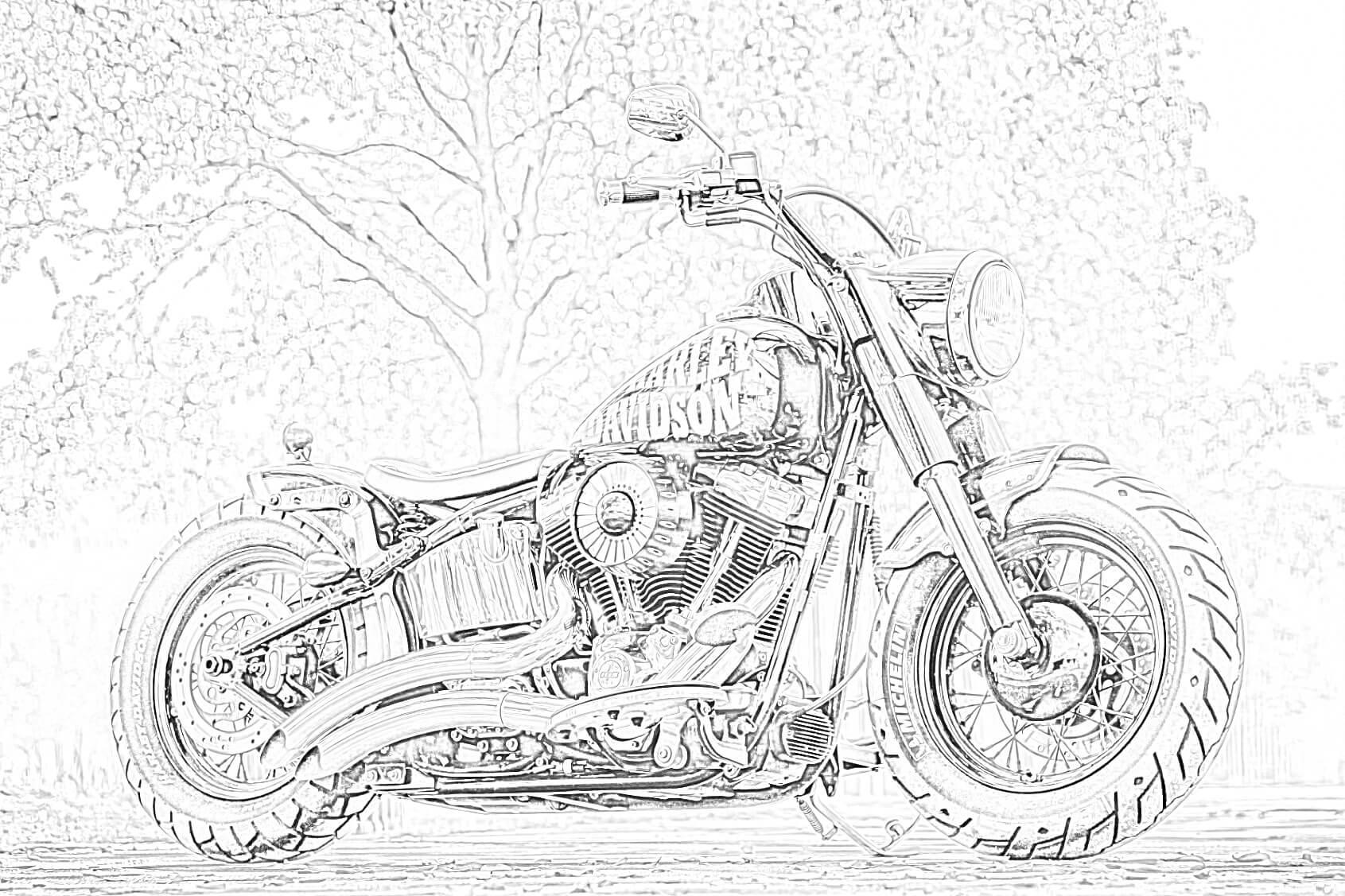 Free Harley Davidson coloring page