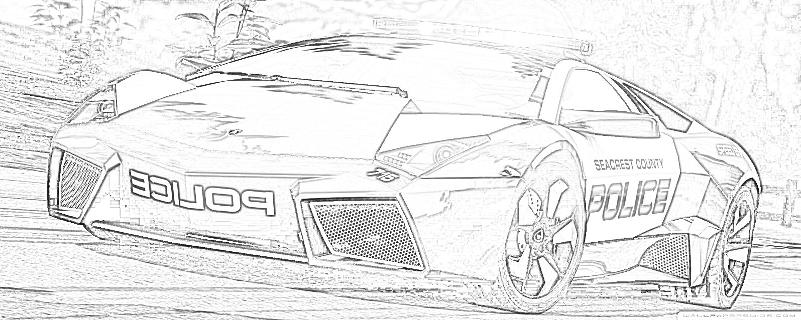 Police Super Car Coloring Page