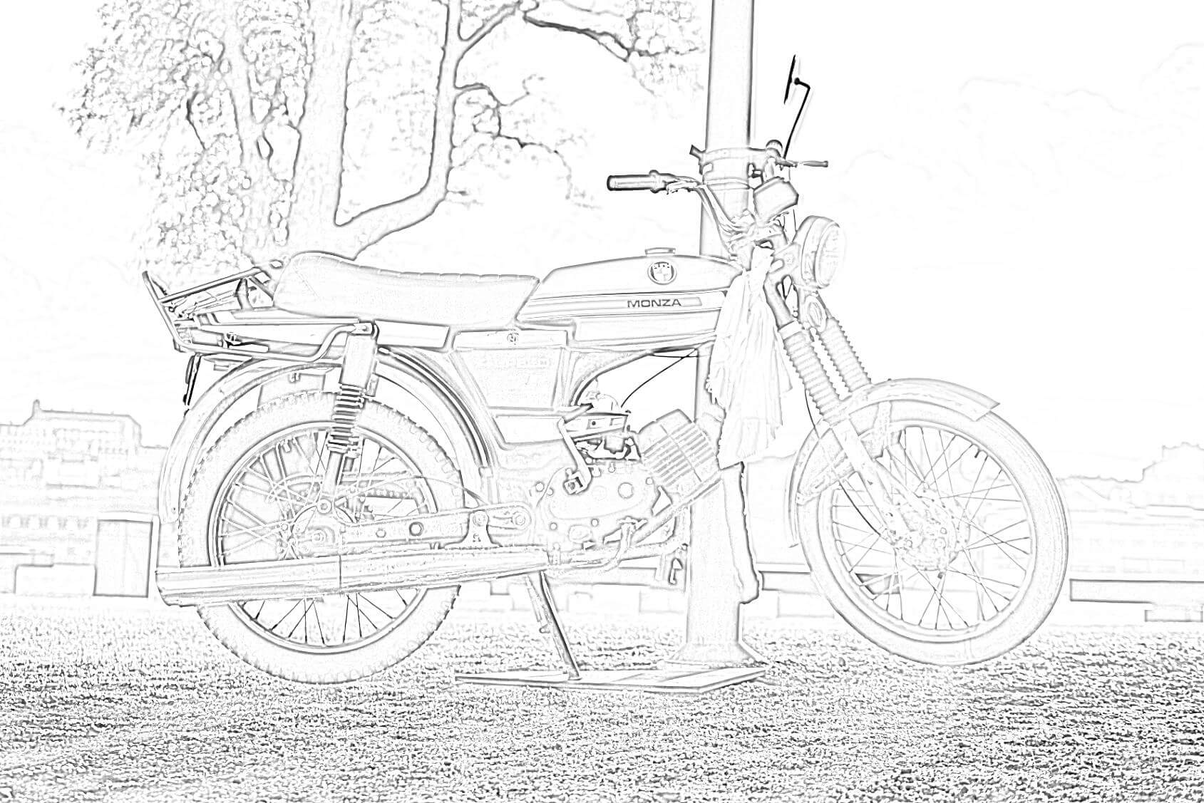 Vintage City Motorbike Coloring Page