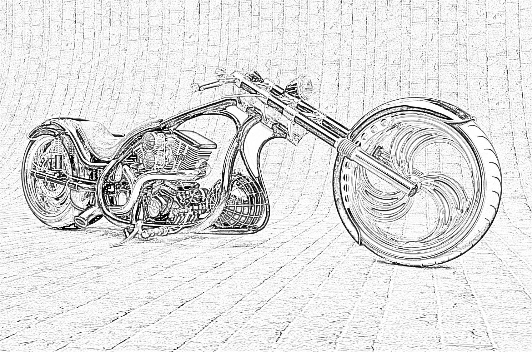 Custom Bike Coloring Page