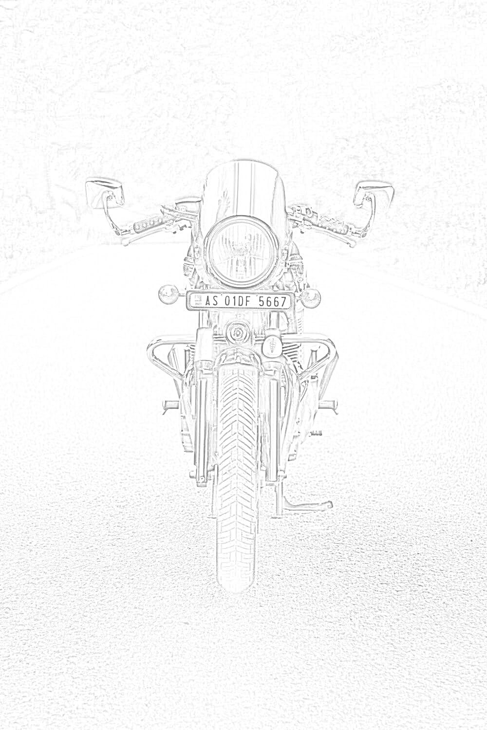 Motorcycle on the Road Coloring Page