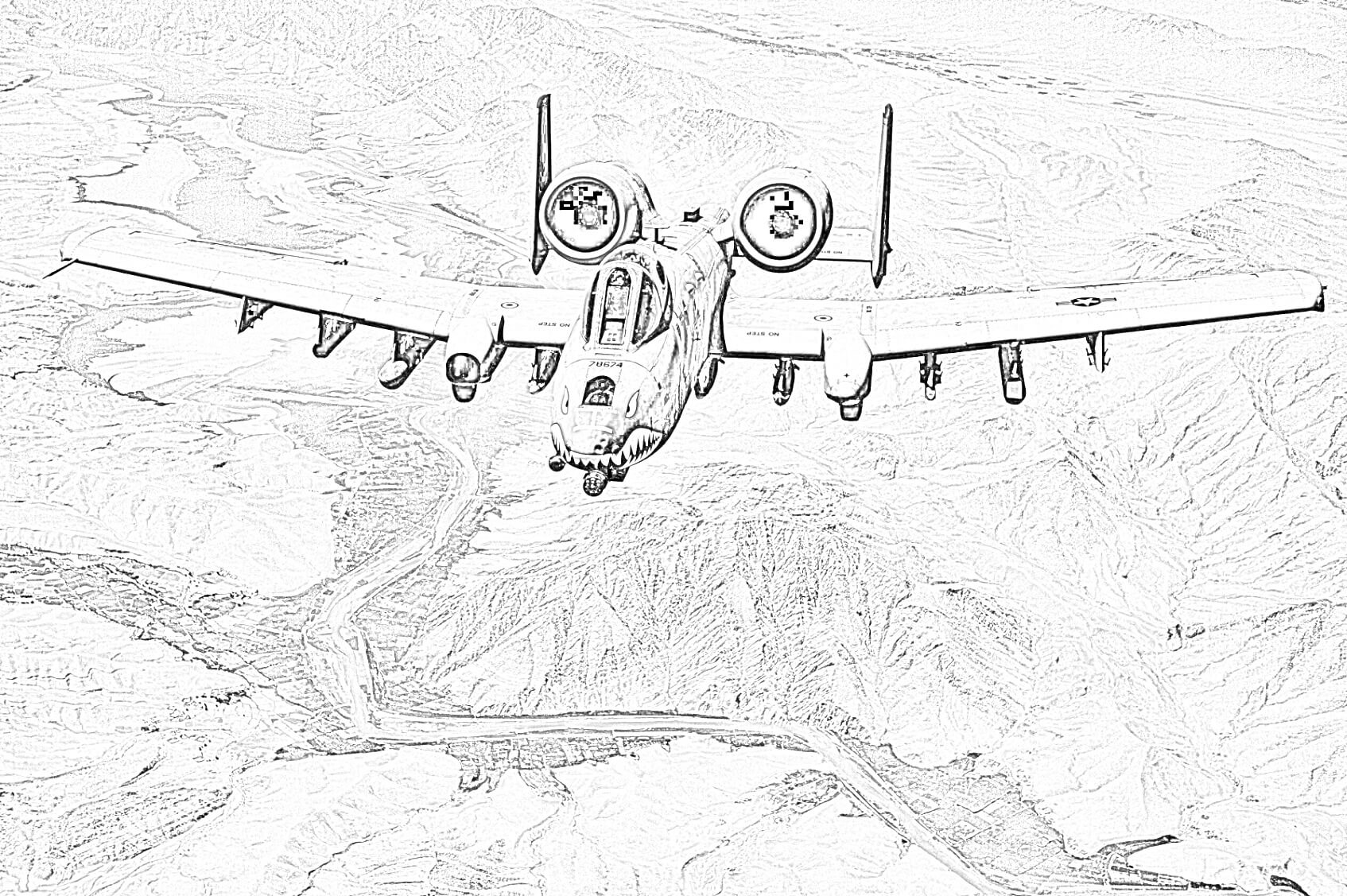 Free A-10 Thunderbolt Coloring Page