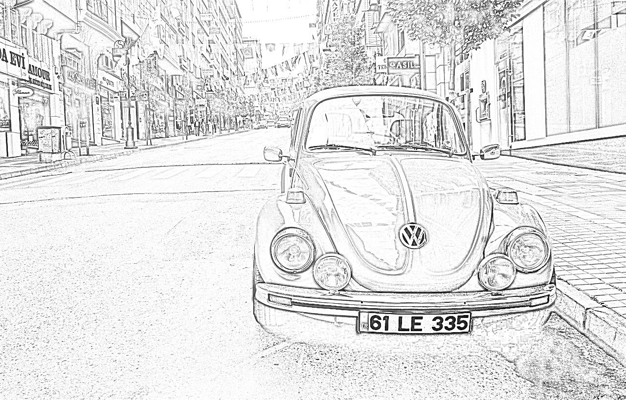 Volkswagen Beetle Coloring Page