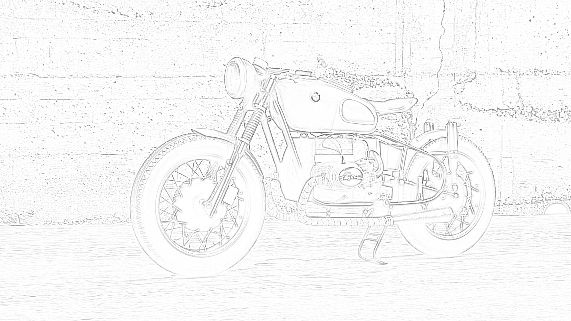 BMW R80 Coloring Page