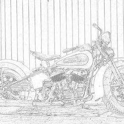 Harley Davidson vintage motorcycle - Coloring page