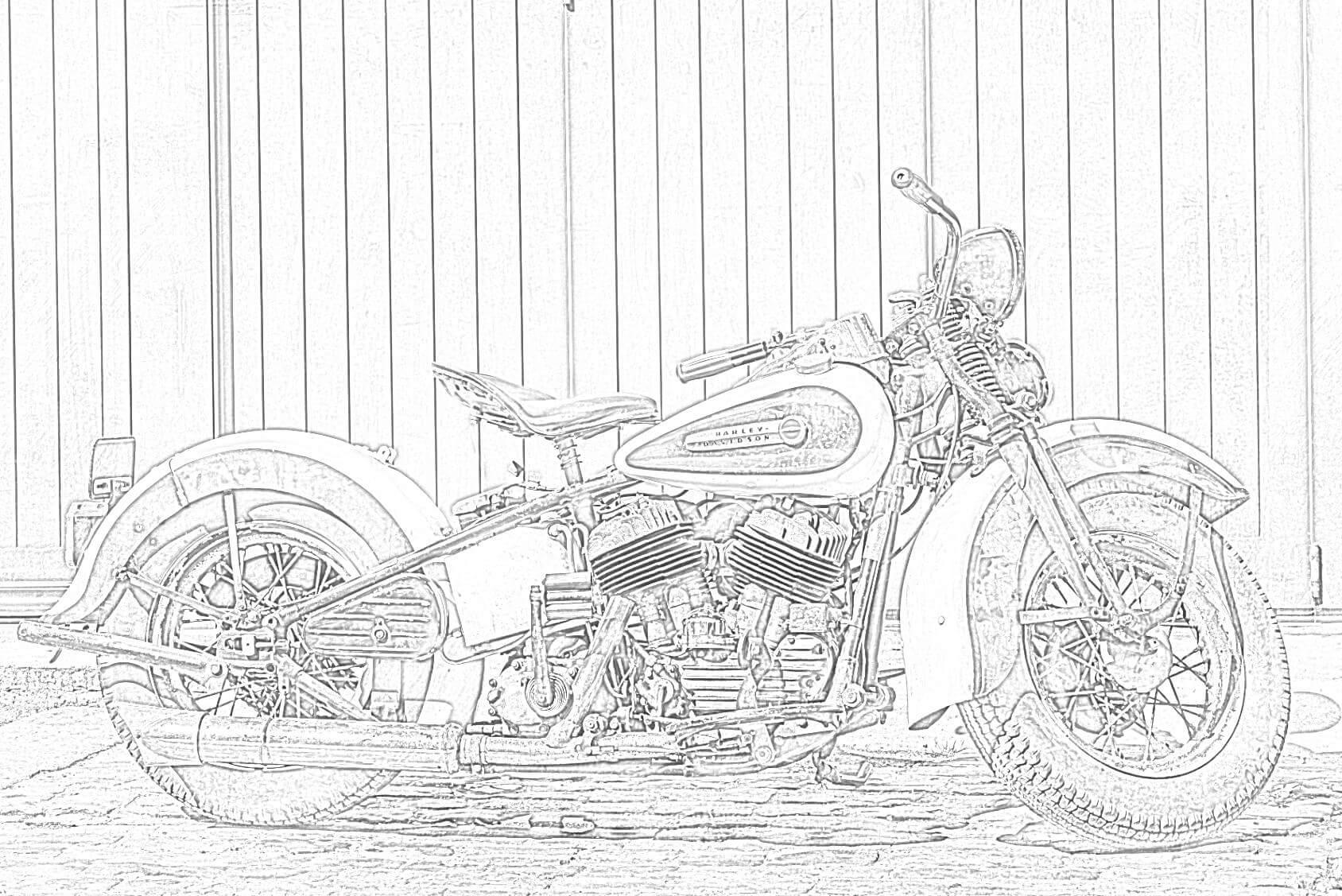 Harley Davidson Vintage Motorcycle Coloring Page