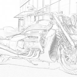 Motorcycle on the road - Coloring page