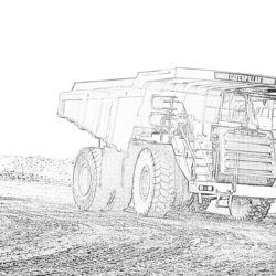 Caterpillar Mining Truck - Coloring page