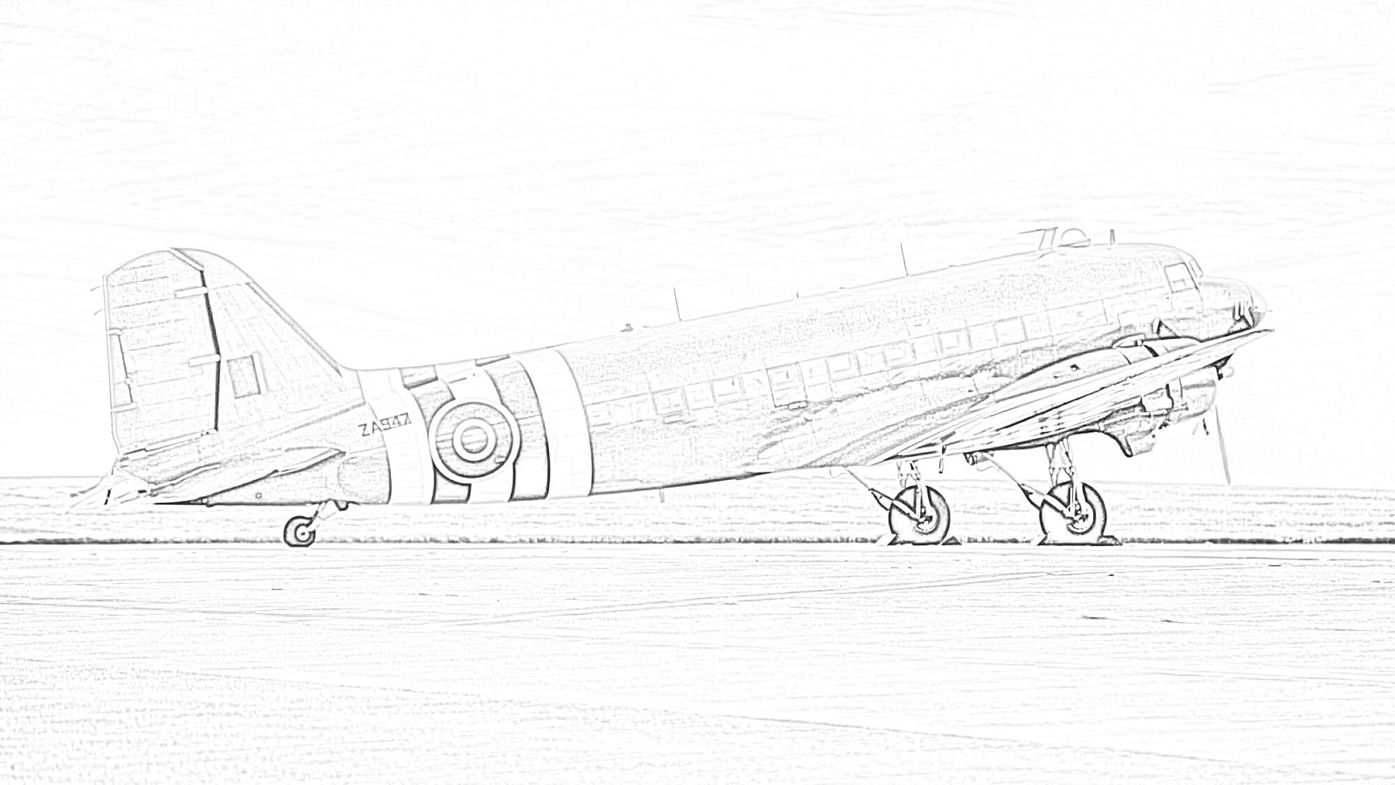 Douglas DC-3 Coloring Page