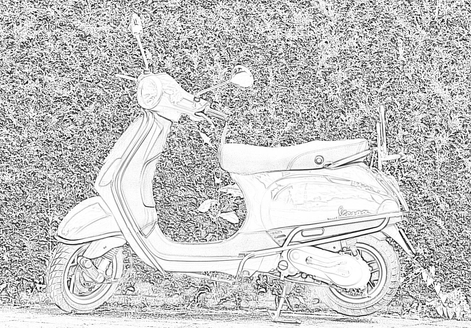 Vespa Scooter Coloring Page