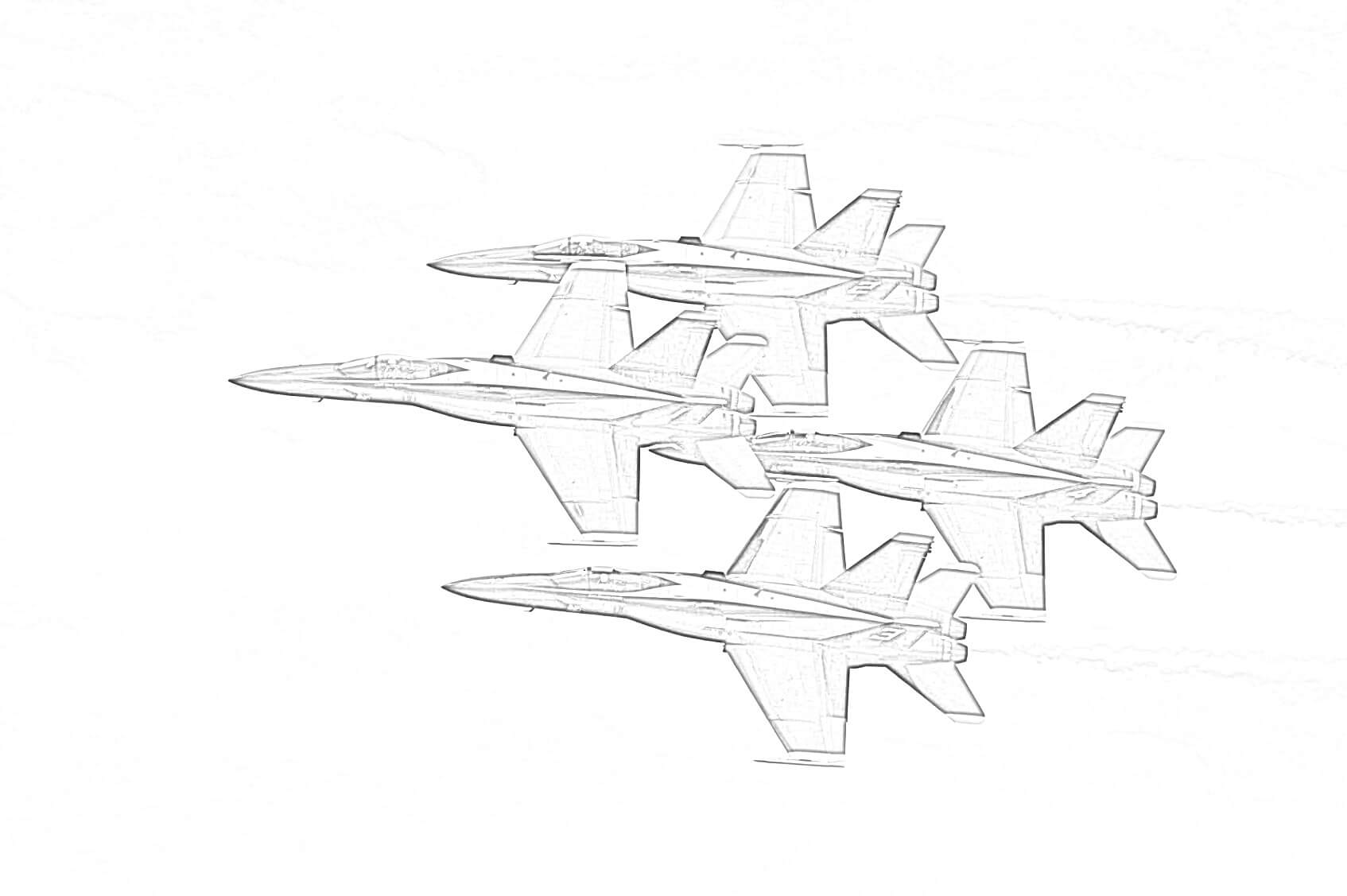 Flying Fighter Jets Coloring Page for Free