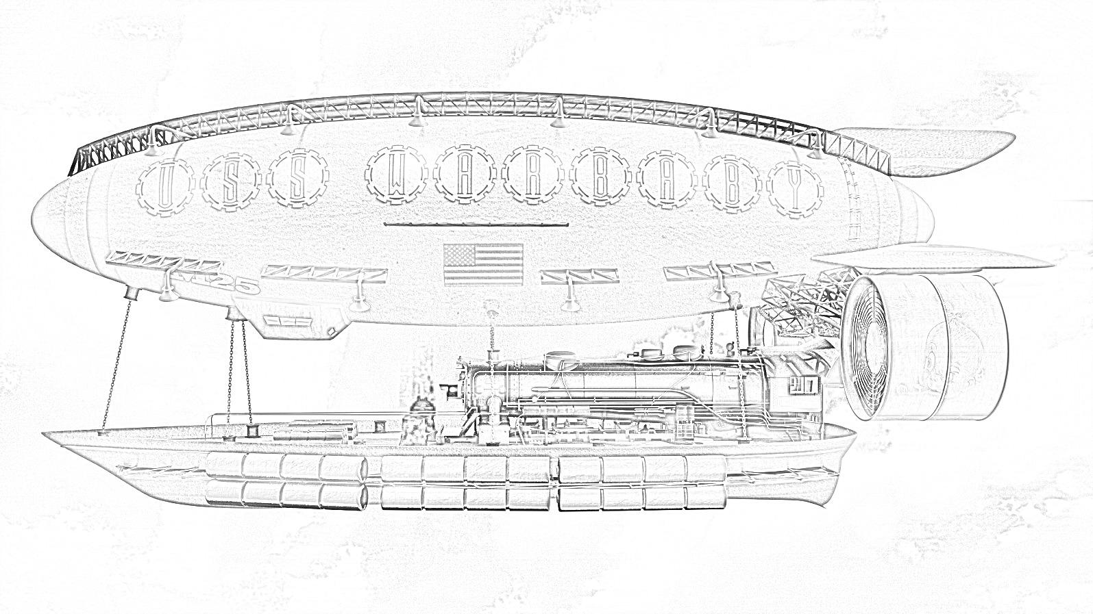 Airship Coloring Page