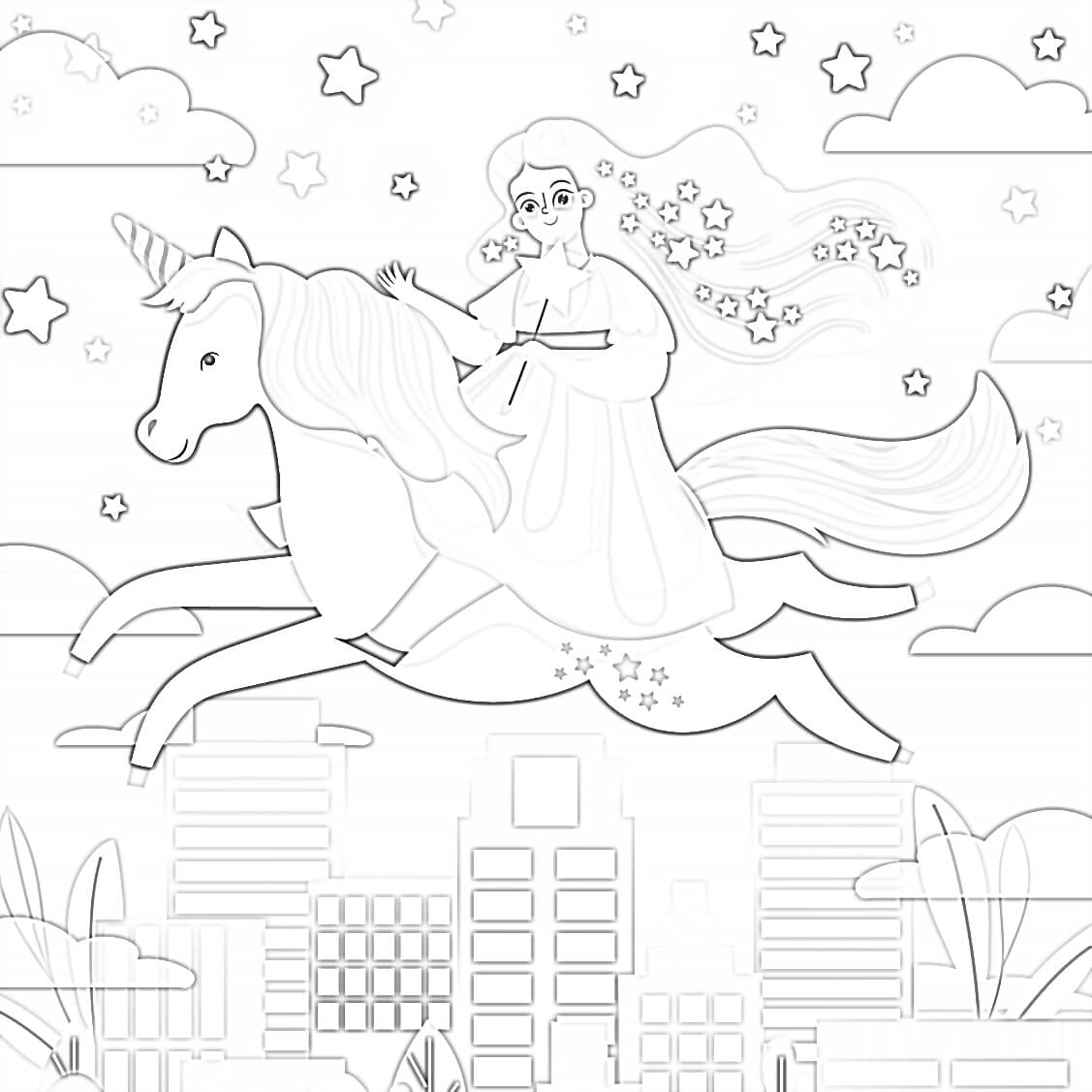 Unicorn and Little Girl Coloring Page