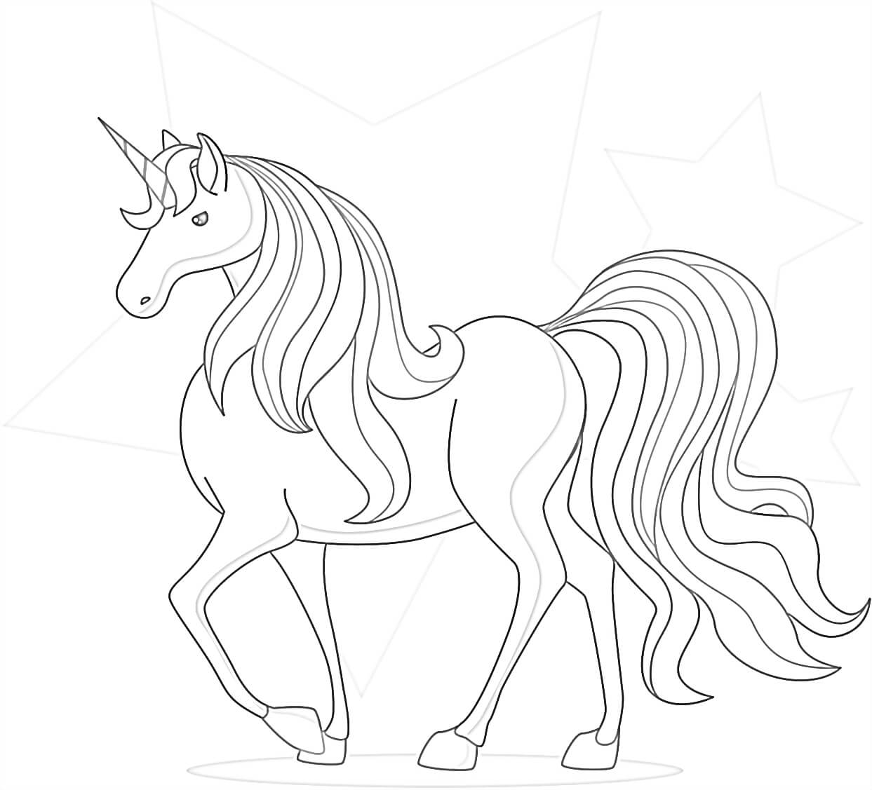 Gorgeous Unicorn Coloring Page for Kids