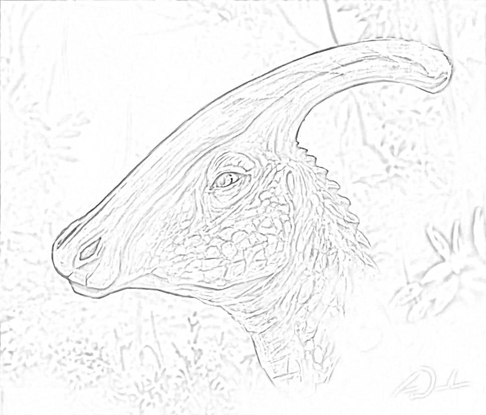 Free Parasaurolophus Coloring Page