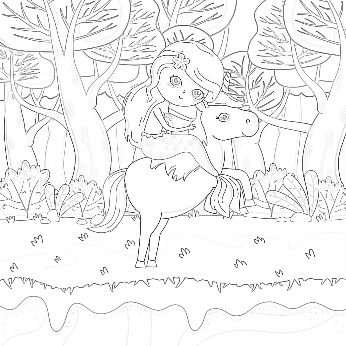 Mermaid and Unicorn Coloring Page