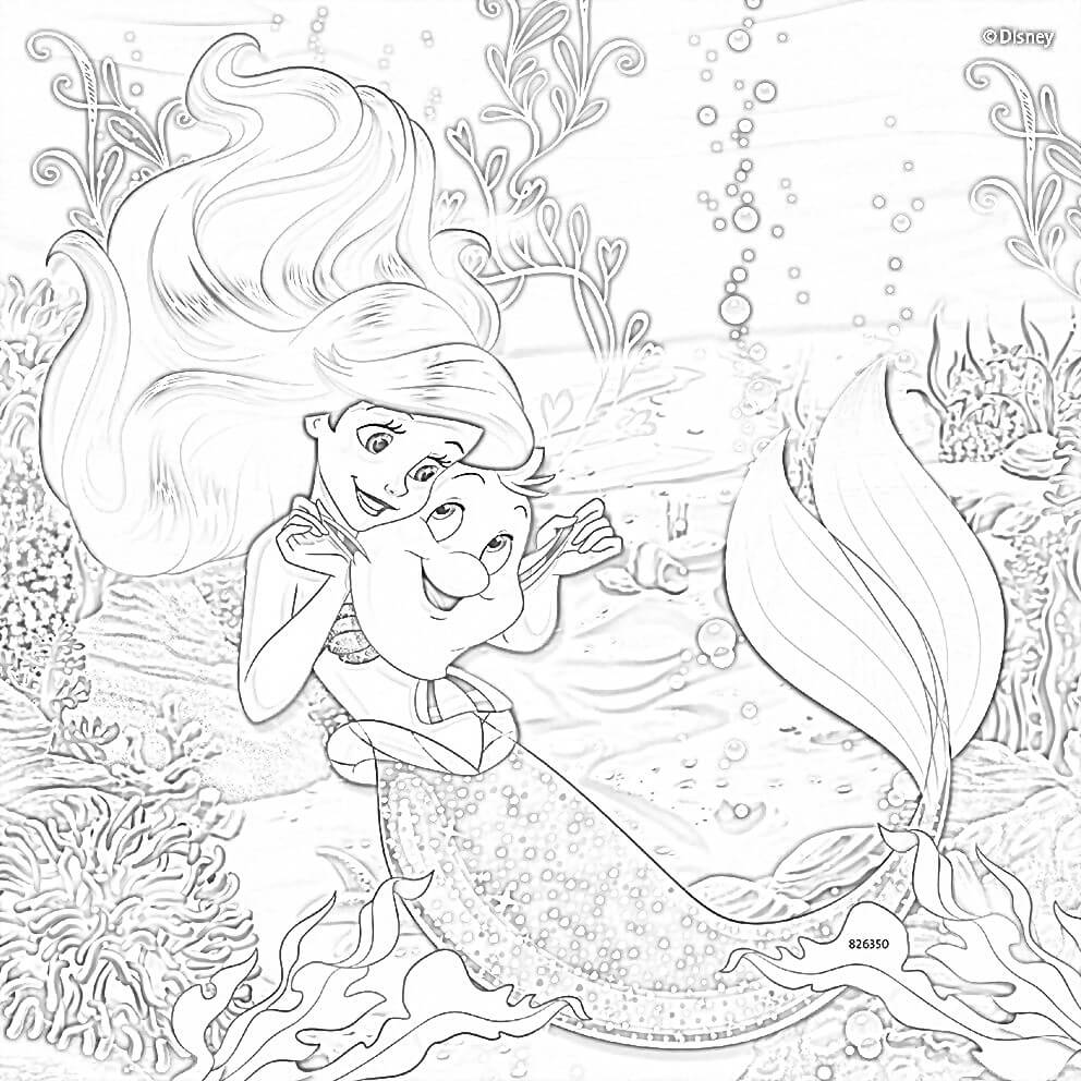 Ariel Mermaid Coloring Page