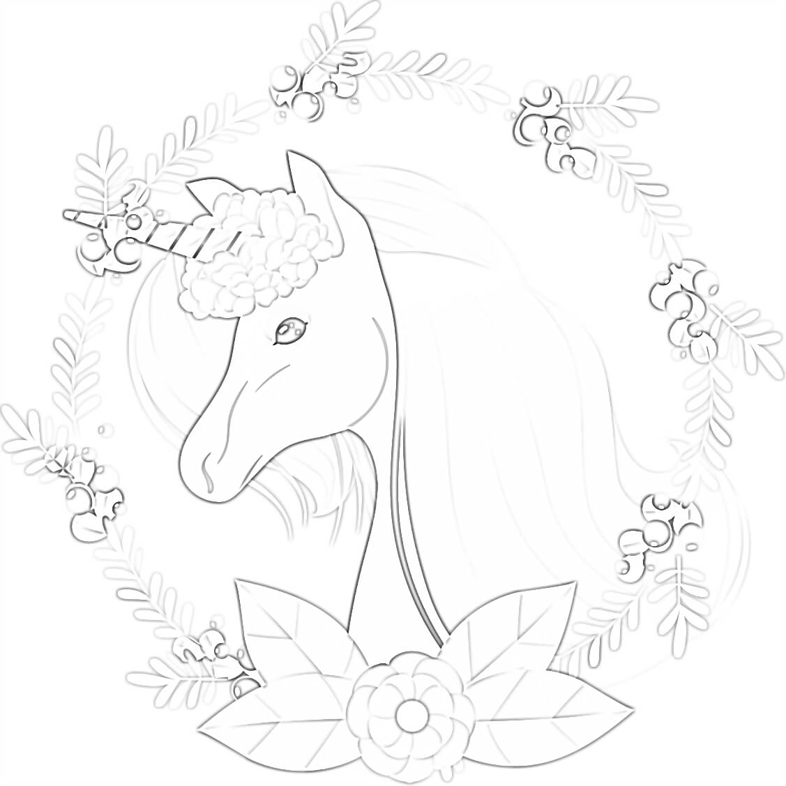 Unicorn Head Coloring Page