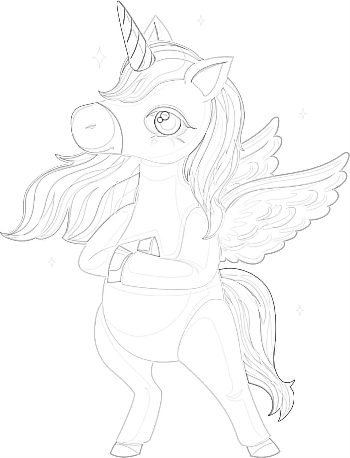Cartoon Unicorn Coloring Page