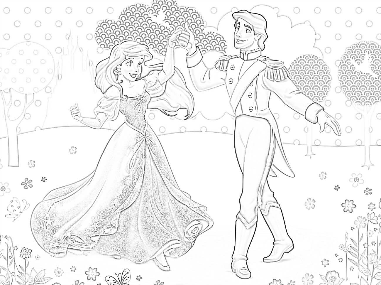 Princess Ariel with Prince Coloring Page