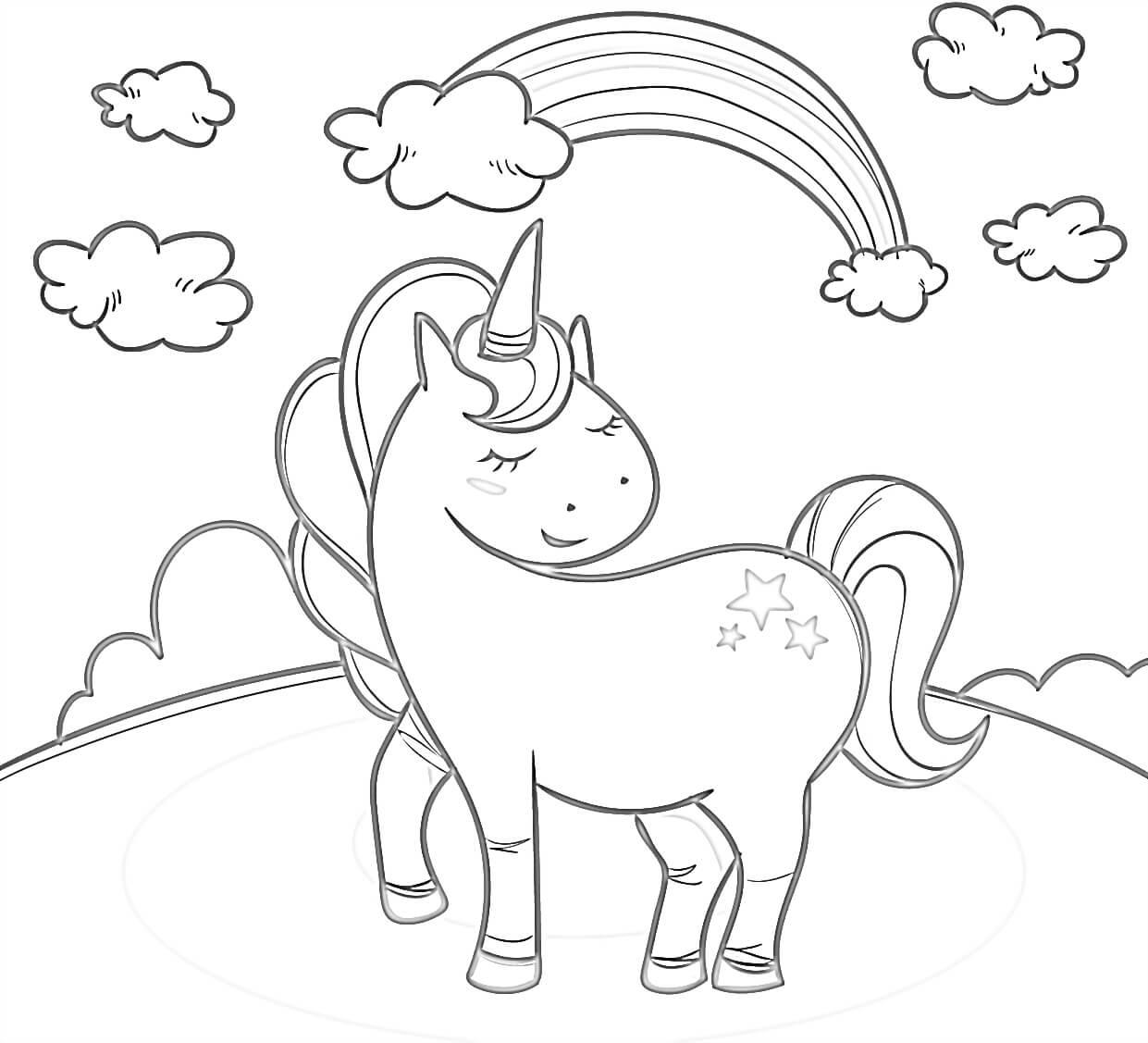 Cute Little Unicorn Coloring Page