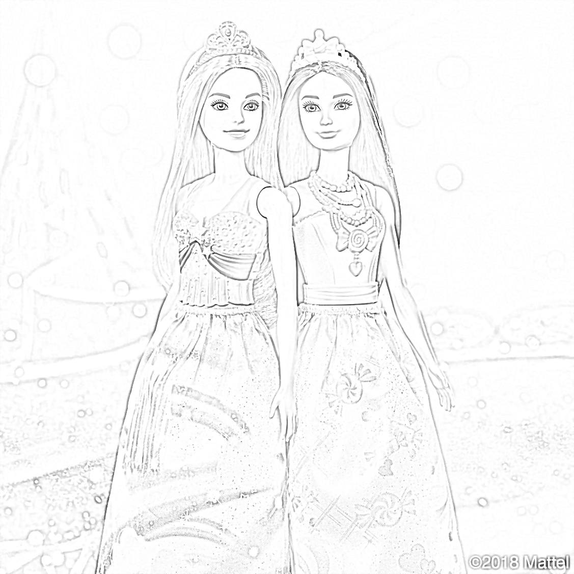 Free Princesses Barbie Coloring Page