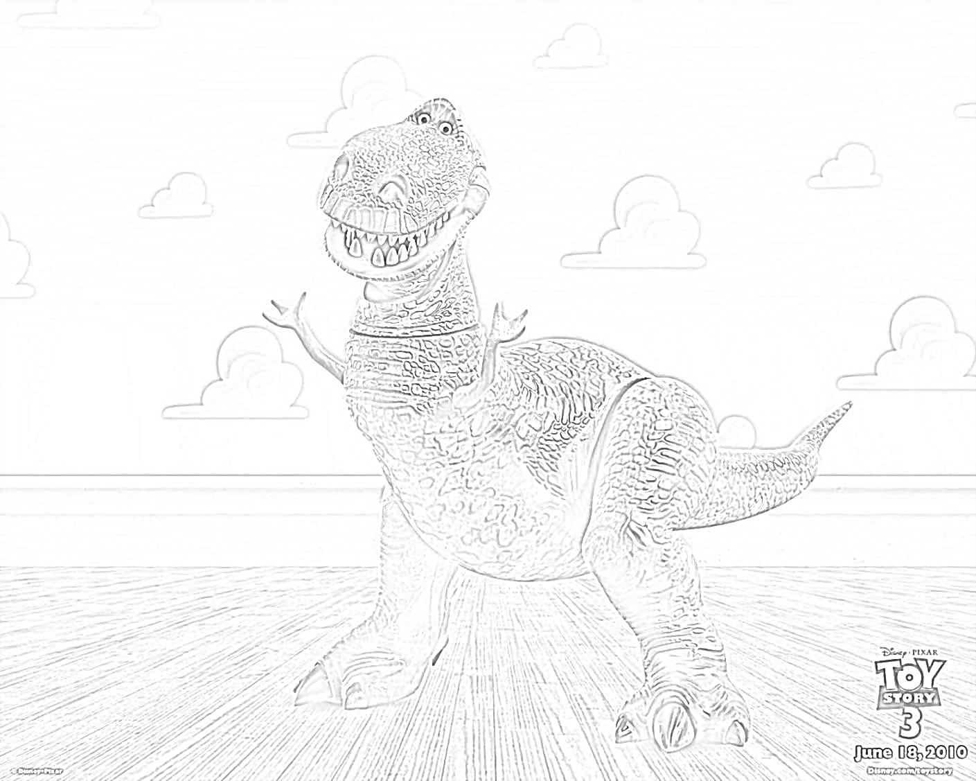 T-Rex Toy Story Coloring Page