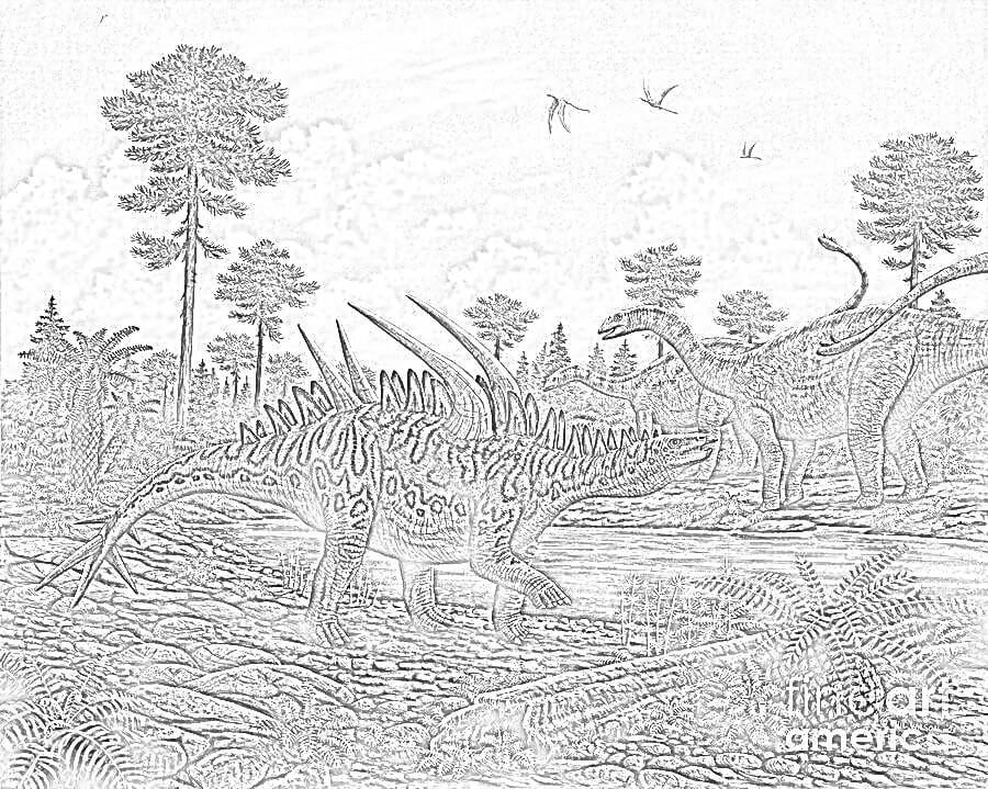 Free Huayangosaurus Coloring Page
