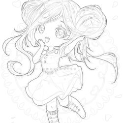 Anime girl - Coloring page